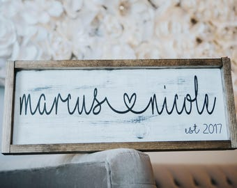 Couples Custom Name Sign  - Wooden Wedding Sign - Couple Sign Wood - Anniversary Sign on Wood - Wedding Date Sign - Wedding Date Sign Wood