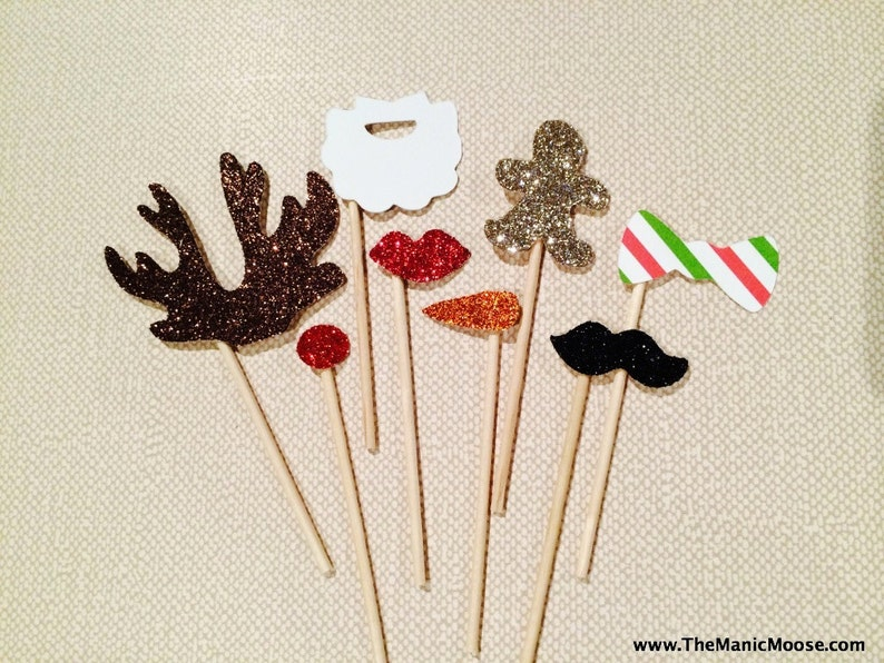 Elf Photo Booth Props  Set of 8 MINIATURE Photo Booth Props  image 0