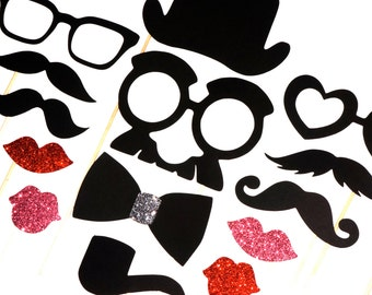 Wedding Photo Booth Props - The Ladies & Gents Collection - 14 piece prop set - Birthdays, Weddings, Parties - Photobooth Props
