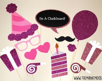 Birthday Party Photo Booth Props ~ 12 piece set ~ Pink ~ Glitter ~ You Choose Balloon Number
