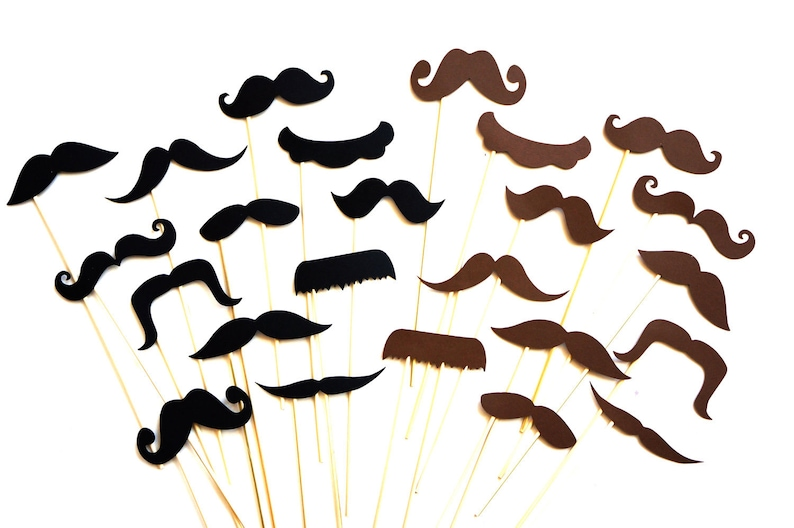 Photo Booth Props  Mustaches on a stick  24 piece prop set  image 0