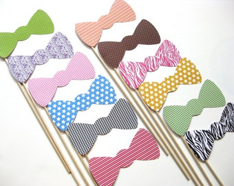 Photo Booth Props on a Stick - Bow Ties - Set of 12 - Photobooth Props