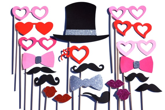 Valentines Day Photo Booth Prop Set With Glitter 21 Pieces Etsy
