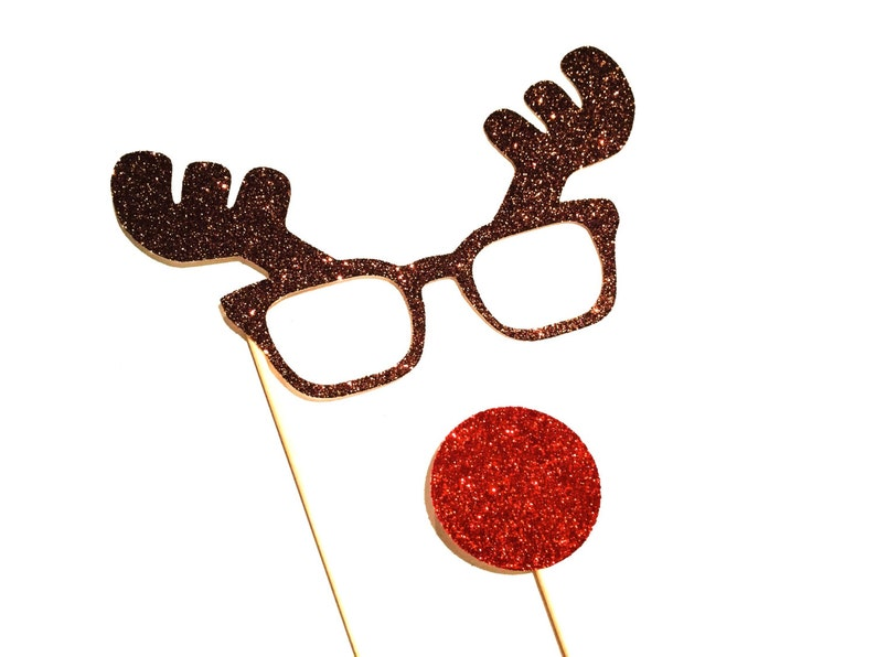 Christmas Photo Booth Props  2 piece set  GLITTER Photobooth image 0