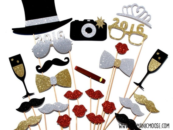 New Years Eve Photo Booth Props Deluxe Set Silver And Gold Etsy