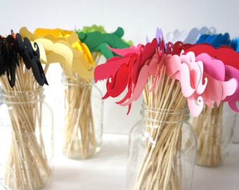 Photo Booth Props - Mustache Bash - Set of 48 Mustaches on a stick - You Choose Colors - Photobooth Props Party Props