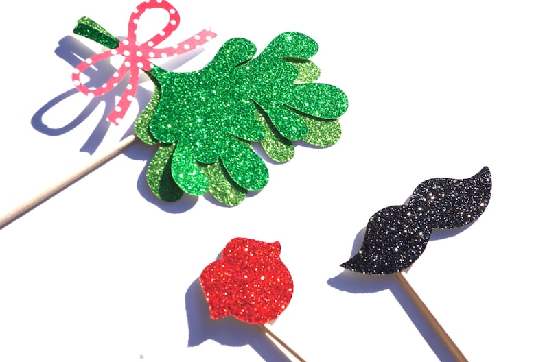 Christmas Photo Booth Props  3 piece set  GLITTER Mustache image 0