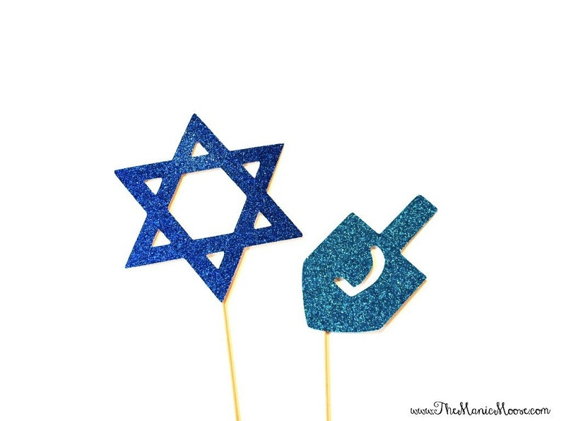 Hanukkah Photo Booth Props  Glitter Photo Props  2 piece set image 0