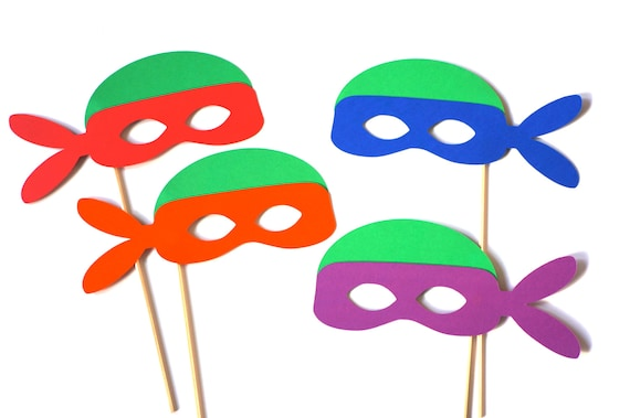 Turtle Photo Booth Props Set Of 4 Turtle Masks Etsy