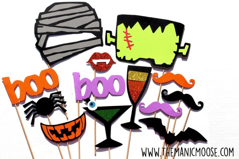 Halloween Photo Booth Props  Halloween Party Props  13 piece image 0
