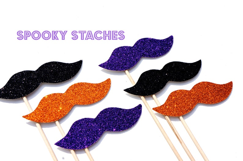 Photo Booth Props   Halloween Glitter Mustaches on a Stick  image 0