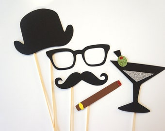 Photo Booth Props - Gentlemen Collection - Set of 5 Photobooth Props with GLITTER