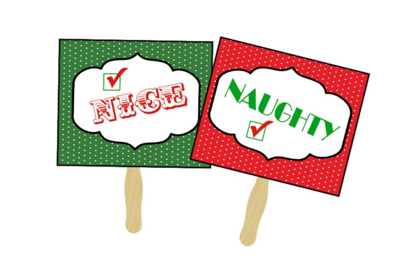 Naughty or Nice Photo Prop Signs  Christmas Photo Props  image 0