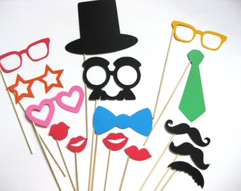 Fun Photo Booth Props  - 15  piece set - Photobooth Props Party Props