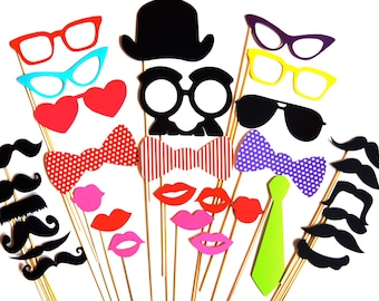 SALE - Awesome Photo Booth Props - 32 piece prop set - Birthdays, Weddings, Parties - Photobooth Props
