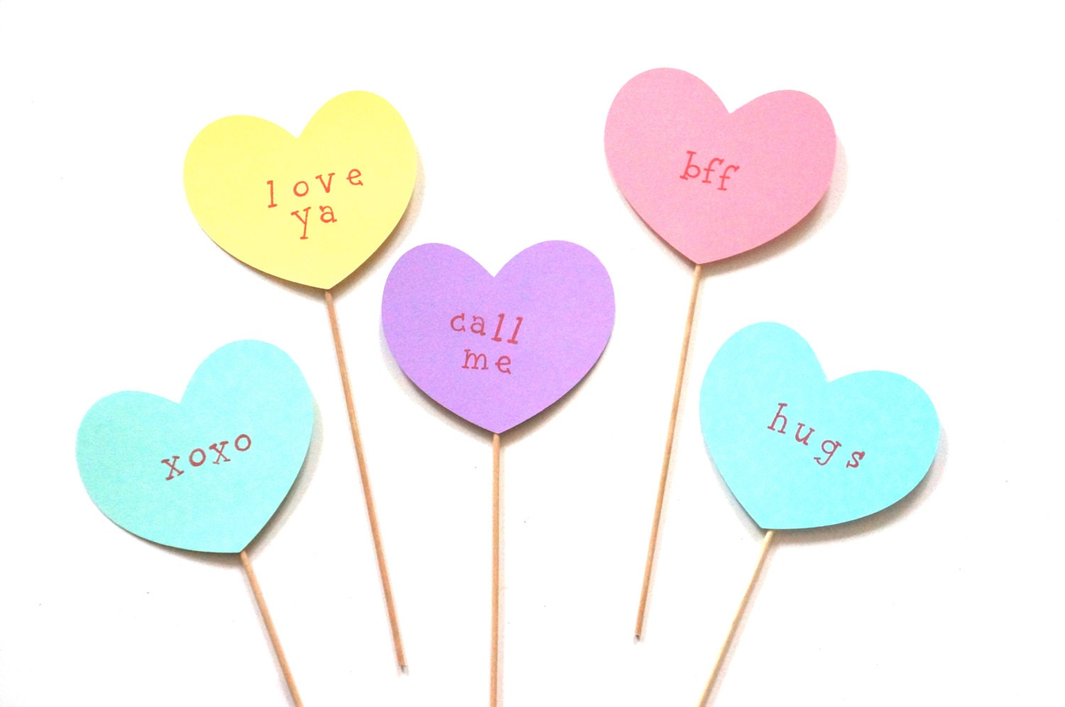 Valentines Day Photo Booth Prop Set 5 Conversation Hearts On Etsy