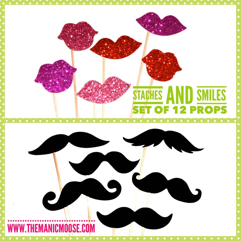 Photo Booth Prop Set  Staches and Smiles   Set of 12 Props  image 0