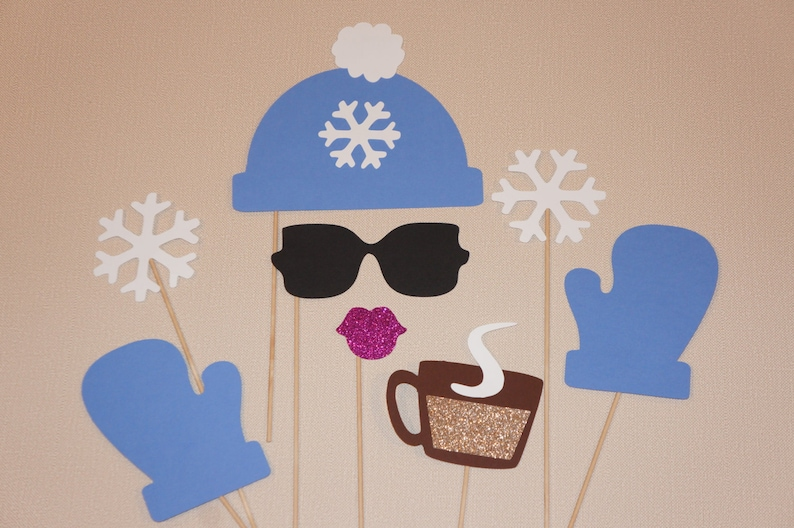 Winter Photo Booth Props  8 piece set  GLITTER Photobooth image 0