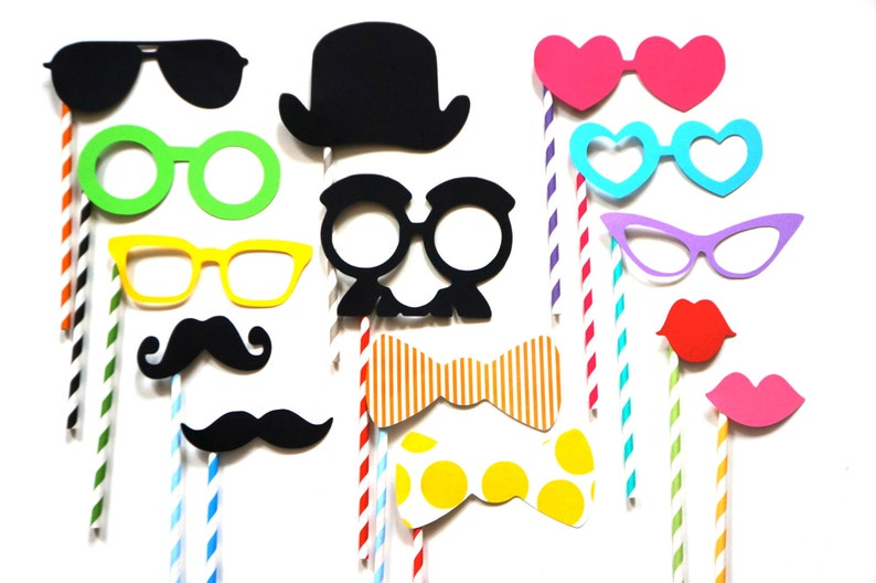 Photo Booth Props on Colorful Striped Straws  14 piece set  image 0