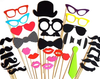 Premium Photo Booth Prop Set - 32 pieces on a stick - Birthdays, Weddings, Parties - Great Photobooth Props