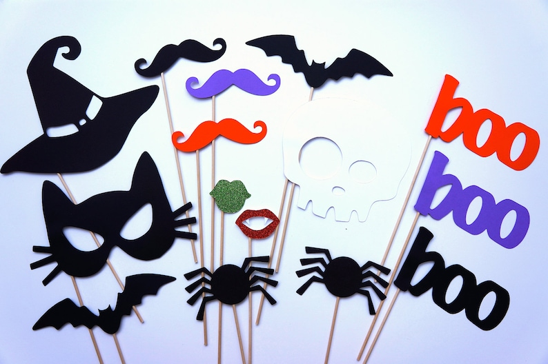 Photo Booth Props  Halloween Party Props  15 piece set  image 0