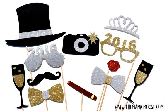 New Years Eve Photo Booth Props Silver And Gold You Choose Etsy