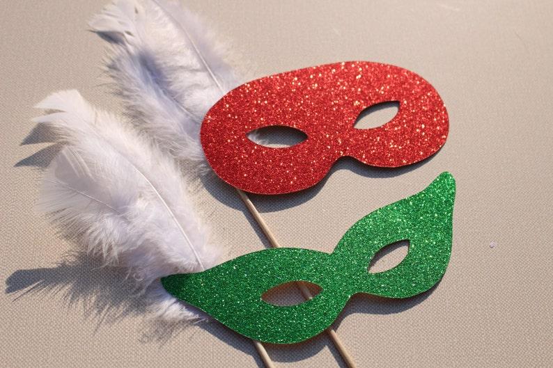 Photo Booth Props  Christmas Glitter Masquerade Masks  Set image 0