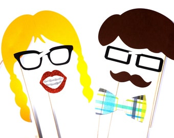 Nerd Alert Photo Props - Set of 7 Photo Booth Props on a stick - Photobooth Props, Weddings, Birthdays