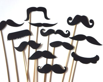 Photo Booth Props  - Mustache Bash - Set of 12 BLACK Mustaches on a stick - Photobooth Props Party Props