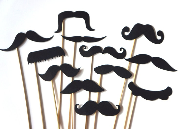 Photo Booth Props   Mustache Bash  Set of 12 BLACK Mustaches image 0