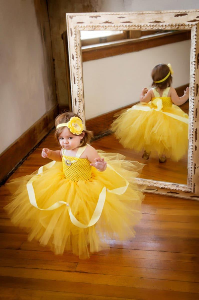 Disney Princess Belle Halloween Costume Tutu Dress & Headband image 0