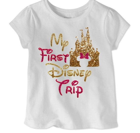 9c946623 My First Disney trip shirt for girls pink and gold Disney | Etsy