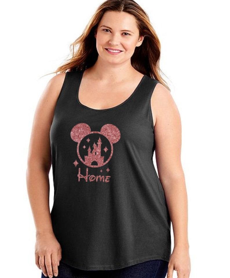 830796133f4 Plus Size Disney Tank Top Rose Gold Glitter Minnie Shirt