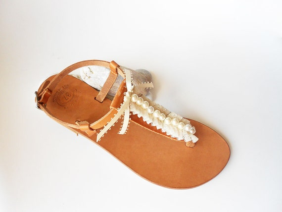 Sandals Wedding Flats Greek Flats Party Pearl Bridal Sandals Natural Sandals Ivory Bridesmaid Sandals Sandals Ivory Lace Leather 6qF4w