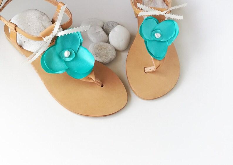 Wedding Party Flats Greek Leather Sandals Pearl Sandals Floral Sandals Bridesmaid Sandals Turquoise Bridal Sandals T-bar Sandals