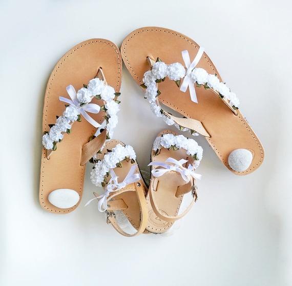 White Flower Sandals Baptism Sandals