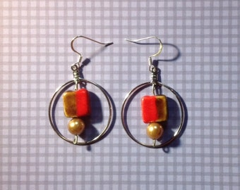 Silver Hooped Earrings with Brown, Red  Rectangular Glass Centerpiece