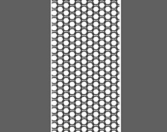Honeycomb small - cuff lengths - laser engraved texture sheet pattern for rolling mill and metal clay