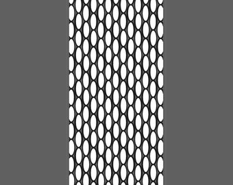 Oval Lattice small vertical cuff - laser engraved texture sheet pattern for rolling mill and metal clay