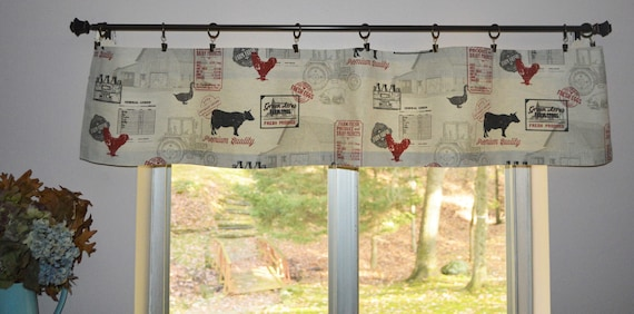 Farmhouse Country Valance . Mini Kitchen Valance . Farm . Cows and Chicken  . Small Kitchen . Kitchen Curtains 12\