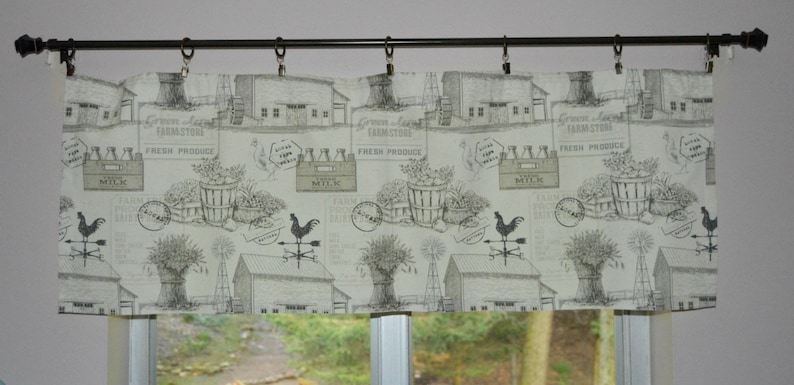 Unlined or Lined Country Valance Farmhouse Valance Cottage Curtains Charcoal Gray and White Valance Farm Toile Rooster Valance