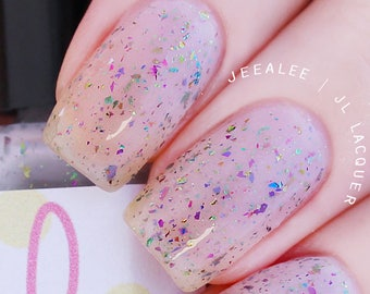 "Nail Polish - ""Flurry""- White Jelly with Rainbow Multi-Chrome Flakies - Indie Nail Polish, Handmade Nail Polish, Holiday Polish"
