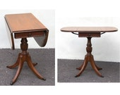1940s Duncan Phyfe Table Drop Leaf Side Table Rare Style Mahogany with Drawer Brass Claw Feet