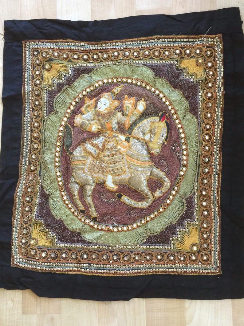 Tenture Africaine Grande Taille kalaga birman perlé oreiller grand textile tenture murale tapisserie jet  boho guerrier ethnique sur des paillettes cousu à la main de cheval brodé