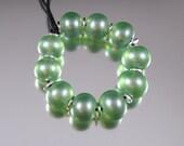 SPRING GREEN - Handmade Lampwork Glass Bead Set by That Bead Girl - SRA