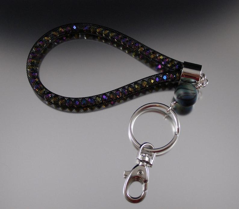 Nebula  Handmade Lampwork Glass Bead Keyring  SPARKLING image 0