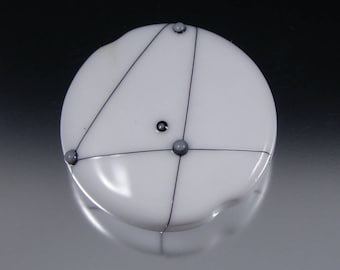 Graphite Focal - Handmade Lampwork Bead - Modern Glass in Black, White, and Gray