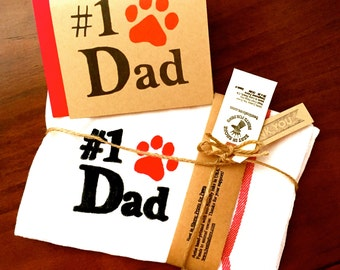 Dog Dad Dish Cloths - Pet Parent Hand Towel Birthday Valentines Day Cat Paw Print - Best Fathers Day Gifts for Animal Lovers men husband him