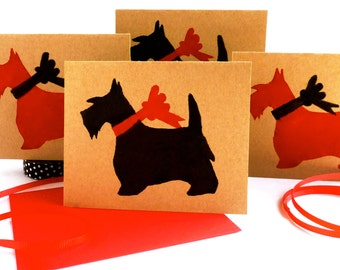Scottie Card Sets - Scottish Terrier ECOfriendly Bulk Thank You Cards - Valentines Day Holiday - Red Scotty Christmas Gifts for Dog Lovers
