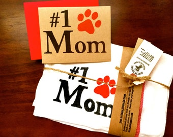 Dog Mom - Pet Parent Paw Print Dish Cloths Mothers Day - ANIMAL RESCUE Mom Best Gifts for Cat Hand Christmas Valentines Birthday Wife Sister